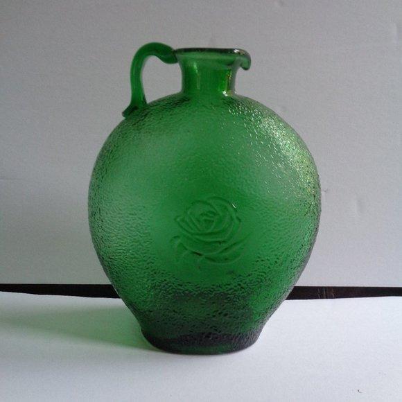 Vintage Clevenger Green Glass Floral Vase Pretty!